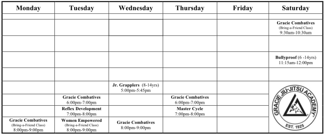Weekly Schedule Dedham 201810_R1